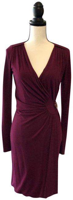 Item - Burgundy Wine Wrap Small Mid-length Night Out Dress Size 4 (S)