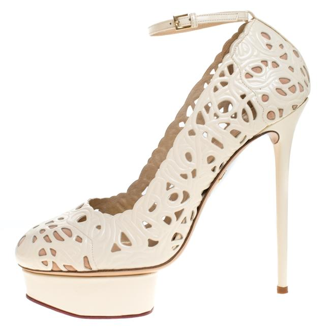 Charlotte Olympia Cream Cut Out Leather Scribble Dolores Ankle Strap Platform Pumps Size US 11 Regular (M, B) Charlotte Olympia Cream Cut Out Leather Scribble Dolores Ankle Strap Platform Pumps Size US 11 Regular (M, B) Image 1