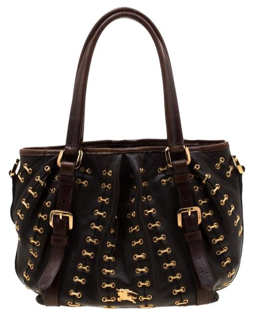 Burberry Dark Metal Stitching Lowry Brown Leather Tote Burberry Dark Metal Stitching Lowry Brown Leather Tote Image 1