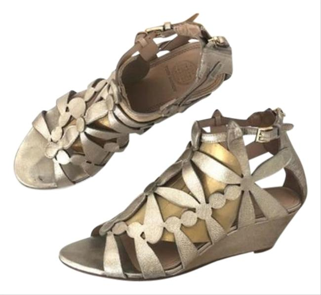 Tory Burch Metallic Gold Emerson Laser-cut Leather Sandals Size US 9 Regular (M, B) Tory Burch Metallic Gold Emerson Laser-cut Leather Sandals Size US 9 Regular (M, B) Image 1