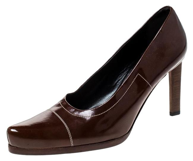 Prada Brown Patent Leather Pointed Pumps Size US 7.5 Regular (M, B) Prada Brown Patent Leather Pointed Pumps Size US 7.5 Regular (M, B) Image 1