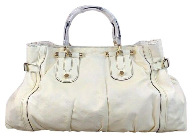 Gucci Tote Bag Bamboo Ivory Leather Satchel Gucci Tote Bag Bamboo Ivory Leather Satchel Image 1