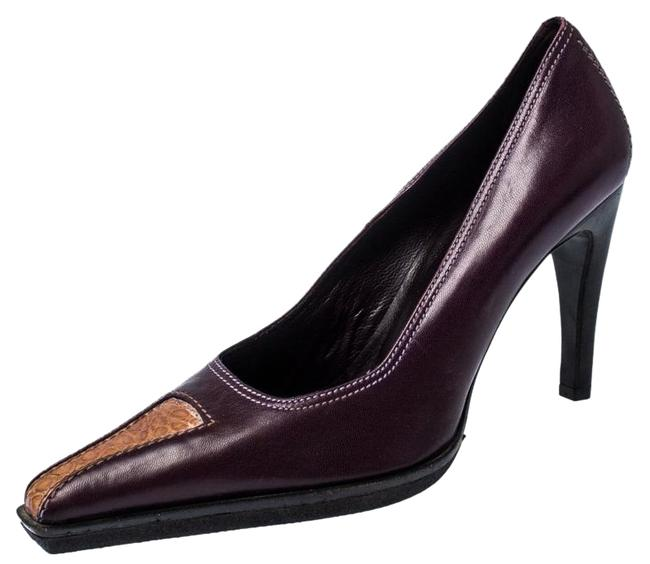 Casadei Purple And Brown Leather Pointed 37.5 Pumps Size US 7 Regular (M, B) Casadei Purple And Brown Leather Pointed 37.5 Pumps Size US 7 Regular (M, B) Image 1
