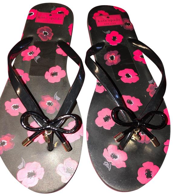 Kate Spade Black and Ref Floral Print Flats Sandals Size US 10 Regular (M, B) Kate Spade Black and Ref Floral Print Flats Sandals Size US 10 Regular (M, B) Image 1