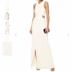 Halston Ivory 95% Polyester 5% Elastane Heritage Cutout Stretch Crepe Column Gown Modern Wedding Dress Size 2 (XS)