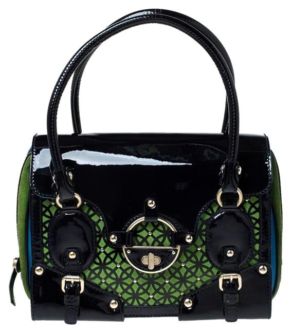 Versace Lazer Multicolor Suede and Patent Leather Satchel Versace Lazer Multicolor Suede and Patent Leather Satchel Image 1