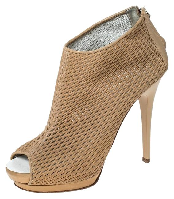 Giuseppe Zanotti Beige Leather Cut Out Peep Toe Ankle 37.5 Boots/Booties Size US 7 Regular (M, B) Giuseppe Zanotti Beige Leather Cut Out Peep Toe Ankle 37.5 Boots/Booties Size US 7 Regular (M, B) Image 1