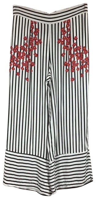 Item - Black White and Pink Cherry Blossom Striped Cropped Trousers/Culottes Pants Size 4 (S, 27)