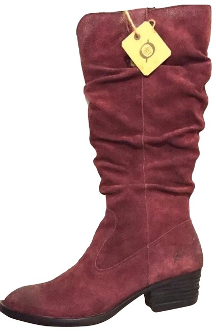 Børn Burgundy Suede Leather Women's Red Boots/Booties Size US 7.5 Narrow (Aa, N) Børn Burgundy Suede Leather Women's Red Boots/Booties Size US 7.5 Narrow (Aa, N) Image 1