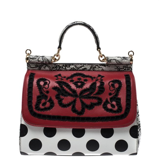 Dolce&Gabbana Dolce and Gabbana Black/White Polka Dots Floral Cut Out Medium White Leather Clutch Dolce&Gabbana Dolce and Gabbana Black/White Polka Dots Floral Cut Out Medium White Leather Clutch Image 1