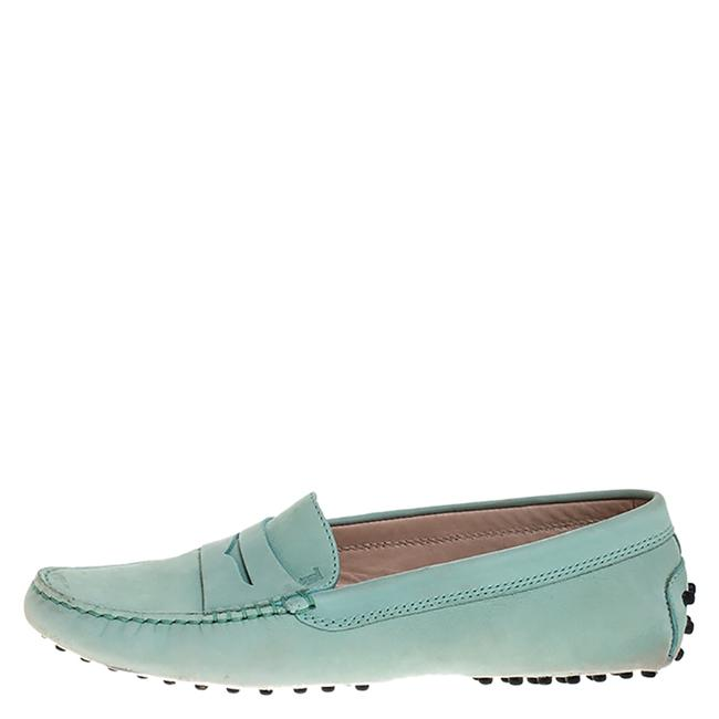 Tod's Green Nubuck Gommini Penny Loafers 37.5 Flats Size US 7.5 Regular (M, B) Tod's Green Nubuck Gommini Penny Loafers 37.5 Flats Size US 7.5 Regular (M, B) Image 1
