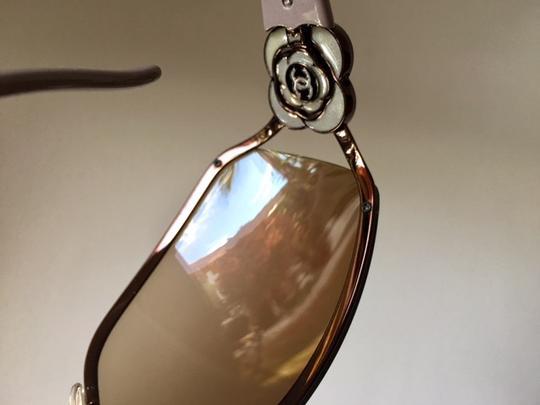 Chanel Stunning Camelia CC w/swaroski crystals shield sunglasses