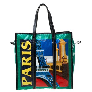 Balenciaga Print Leather Paris Tote in Green