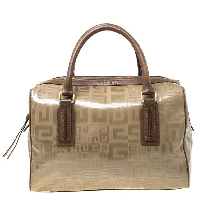 Givenchy Coated Canvas And Brown Leather Satchel Givenchy Coated Canvas And Brown Leather Satchel Image 1