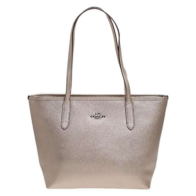Coach Gold Top-zip Metallic Leather Tote Coach Gold Top-zip Metallic Leather Tote Image 1