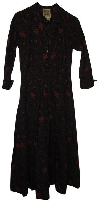 Preload https://img-static.tradesy.com/item/27087038/black-and-rusty-red-34-sleeve-embroidered-cotton-mid-length-workoffice-dress-size-0-xs-0-1-650-650.jpg