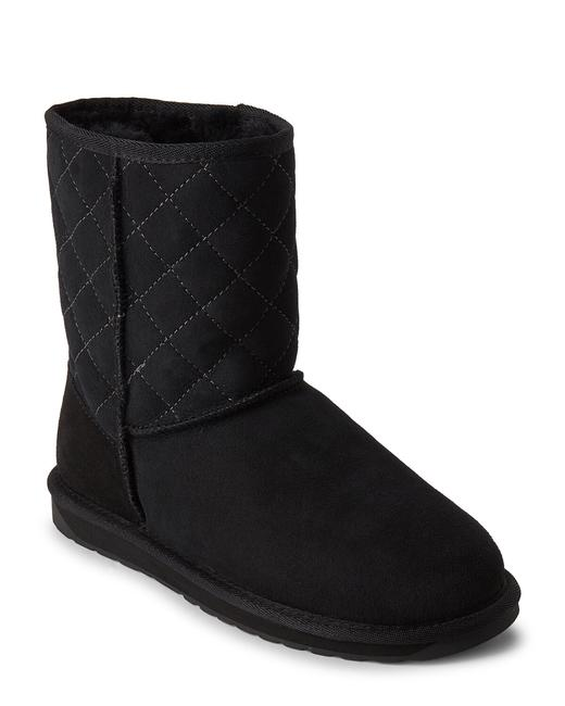 EMU Black Stinger Lo Quilted Shearling-lined Suede Boots/Booties Size US 7 Regular (M, B) EMU Black Stinger Lo Quilted Shearling-lined Suede Boots/Booties Size US 7 Regular (M, B) Image 1