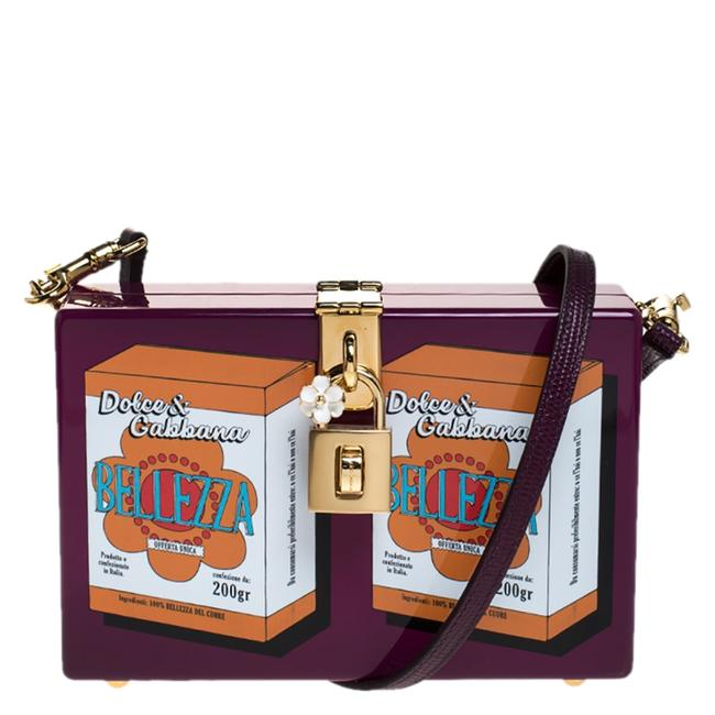 Dolce&Gabbana Box Bellezza Purple Wood Clutch Dolce&Gabbana Box Bellezza Purple Wood Clutch Image 1