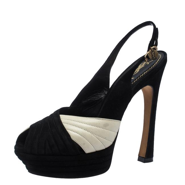 Saint Laurent Black Black/Cream Suede and Leather Criss Cross Platform Slingback Sandals Size US 10 Regular (M, B) Saint Laurent Black Black/Cream Suede and Leather Criss Cross Platform Slingback Sandals Size US 10 Regular (M, B) Image 1