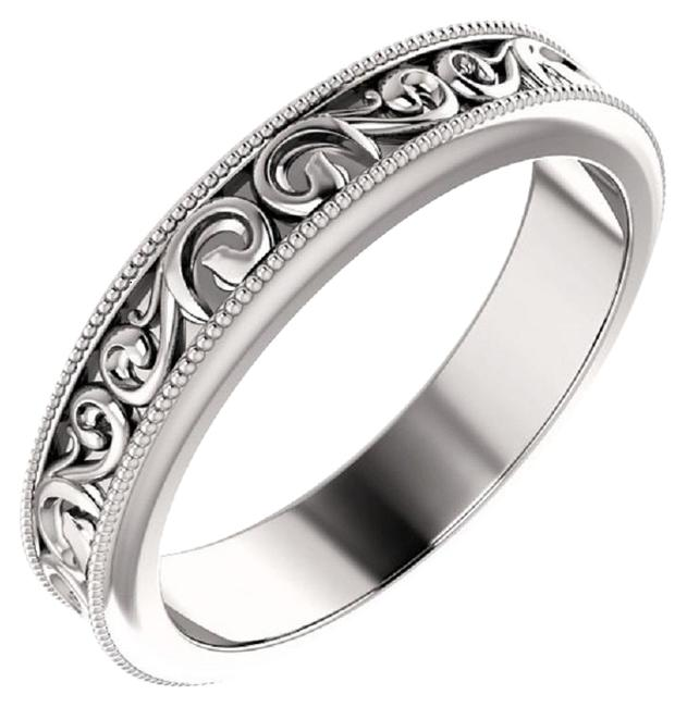Apples of Gold Silver Paisley Pattern Wedding Band Ring Apples of Gold Silver Paisley Pattern Wedding Band Ring Image 1