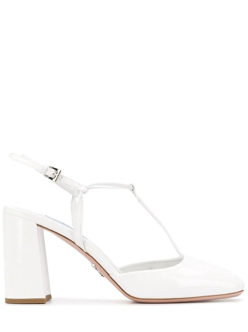 Prada White Gr Patent Leather T-bar Pumps Size EU 37.5 (Approx. US 7.5) Regular (M, B) Prada White Gr Patent Leather T-bar Pumps Size EU 37.5 (Approx. US 7.5) Regular (M, B) Image 1