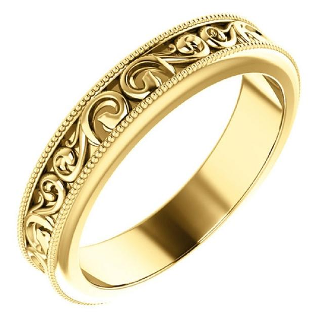 Apples of Gold Paisley Pattern Band In 14k Yellow Ring Apples of Gold Paisley Pattern Band In 14k Yellow Ring Image 1