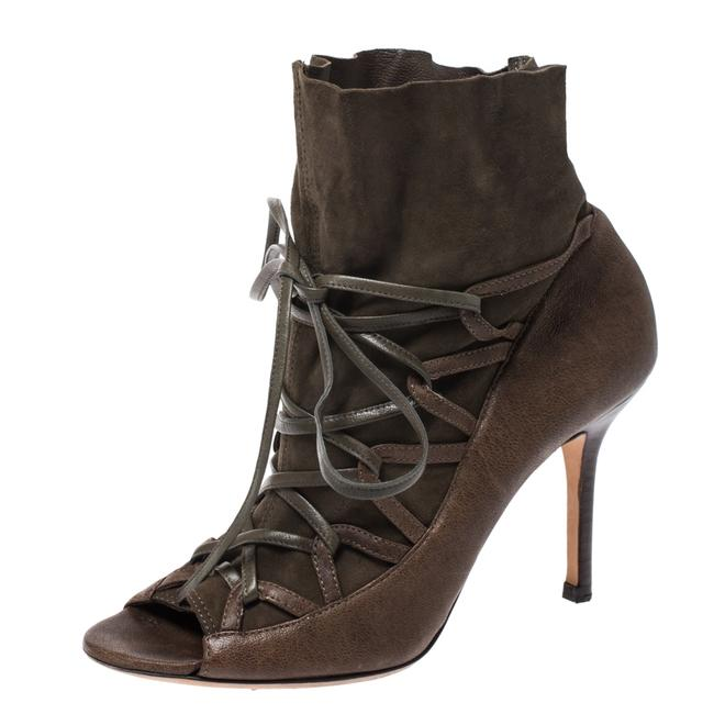 Jimmy Choo Green Khaki Leather and Suede Lace 37.5 Boots/Booties Size US 7.5 Regular (M, B) Jimmy Choo Green Khaki Leather and Suede Lace 37.5 Boots/Booties Size US 7.5 Regular (M, B) Image 1