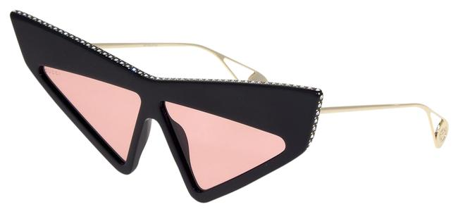Gucci Gold Black 0430 Pink Oversized Unisex Fashion Mask Gg0430s Sunglasses Gucci Gold Black 0430 Pink Oversized Unisex Fashion Mask Gg0430s Sunglasses Image 1