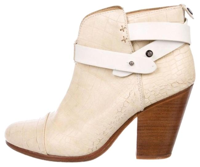 Item - White Cream Beige Ivory Off White Harrow Embossed Leather Ankle Boots/Booties Size US 7.5 Regular (M, B)