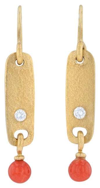 Linda Lee Johnson Yellow Gold Coral Diamond Dangle 18k Hook Pierced Earrings Linda Lee Johnson Yellow Gold Coral Diamond Dangle 18k Hook Pierced Earrings Image 1