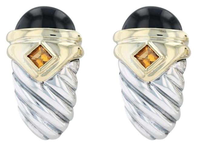 Item - Silver and Yellow Gold Renaissance Onyx Chalcedony Citrine Earrings