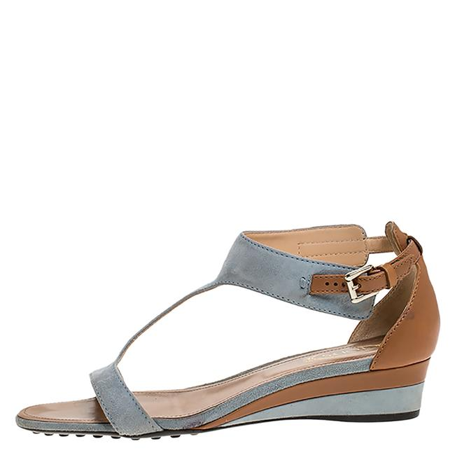 Tod's Blue Blue/Brown Suede and Leather T-bar Wedge Ankle Strap Sandals Size US 6 Regular (M, B) Tod's Blue Blue/Brown Suede and Leather T-bar Wedge Ankle Strap Sandals Size US 6 Regular (M, B) Image 1