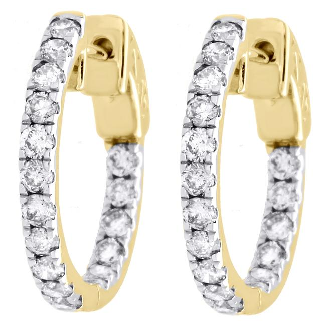 Jewelry For Less Yellow Gold 10k Diamond In & Out Hoops Round Hinged Ct. Earrings Jewelry For Less Yellow Gold 10k Diamond In & Out Hoops Round Hinged Ct. Earrings Image 1