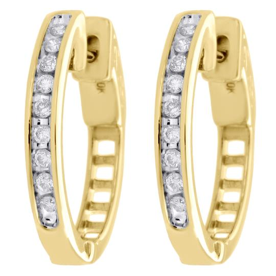 Preload https://img-static.tradesy.com/item/27087439/jewelry-for-less-yellow-gold-10k-genuine-diamond-channel-set-huggie-hoop-14ct-earrings-0-0-540-540.jpg