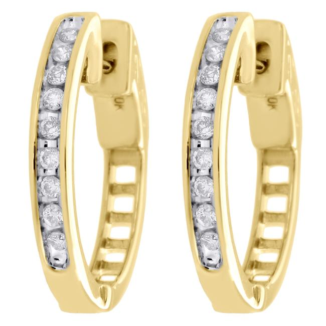 Jewelry For Less Yellow Gold 10k Genuine Diamond Channel Set Huggie Hoop 1/4ct Earrings Jewelry For Less Yellow Gold 10k Genuine Diamond Channel Set Huggie Hoop 1/4ct Earrings Image 1