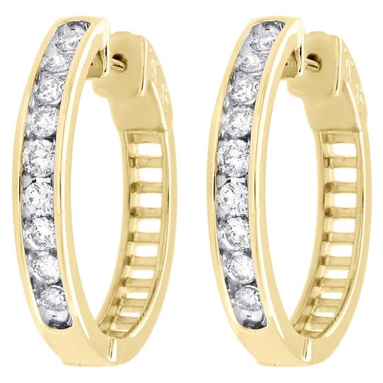Preload https://img-static.tradesy.com/item/27087499/jewelry-for-less-yellow-gold-10k-channel-set-diamond-hoops-ladies-round-ct-earrings-0-0-540-540.jpg
