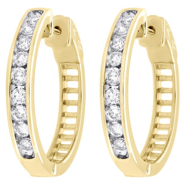 Jewelry For Less Yellow Gold 10k Channel Set Diamond Hoops Ladies Round Ct. Earrings Jewelry For Less Yellow Gold 10k Channel Set Diamond Hoops Ladies Round Ct. Earrings Image 1