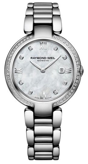 Preload https://img-static.tradesy.com/item/27087515/raymond-weil-stainless-steel-ladies-shine-1600-sts-00995-diamond-mop-32mm-quart-watch-0-1-540-540.jpg