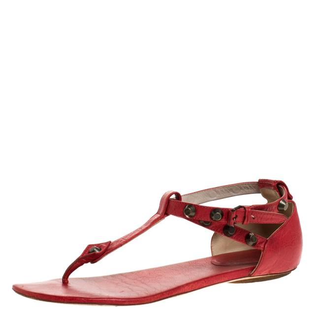 Balenciaga Red Leather Arena Studded Thong Sandals Flats Size US 9 Regular (M, B) Balenciaga Red Leather Arena Studded Thong Sandals Flats Size US 9 Regular (M, B) Image 1