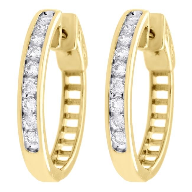 Jewelry For Less Yellow Gold 10k Genuine Diamond Channel Set Huggie Hoop 1/2ct Earrings Jewelry For Less Yellow Gold 10k Genuine Diamond Channel Set Huggie Hoop 1/2ct Earrings Image 1