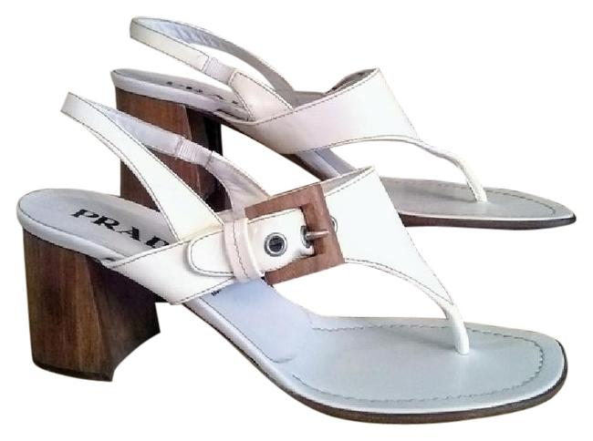 Prada Cream White Block Heel Thong Sandals Size US 9 Regular (M, B) Prada Cream White Block Heel Thong Sandals Size US 9 Regular (M, B) Image 1