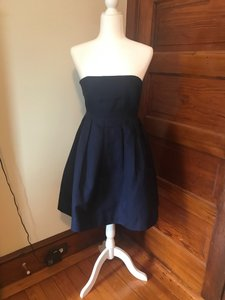 J.Crew Navy Cotton Strapless A-line Pockets Casual Bridesmaid/Mob Dress Size 4 (S)