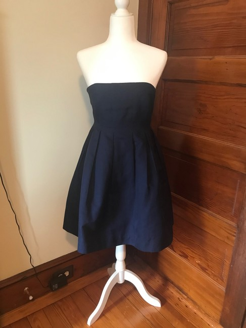 Item - Navy Cotton Strapless A-line Pockets Casual Bridesmaid/Mob Dress Size 4 (S)