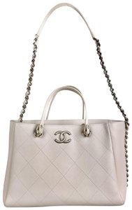 Chanel Bullskin Leather Quilted Tote in Beige
