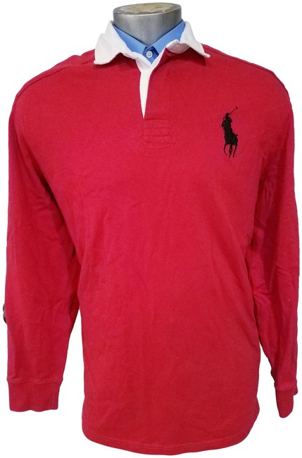 Item - Red XL Rugby Elbow Patch Shirt Big Pony Vintage Long Activewear Size 20 (Plus 1x)