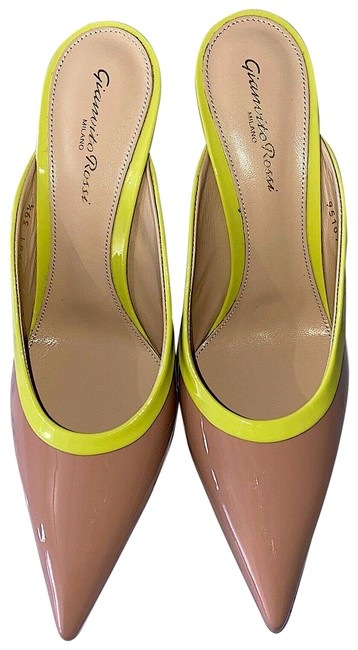 Item - Nude/Yellow Neon New Two-tone Leather Mules/Slides Size EU 38 (Approx. US 8) Regular (M, B)