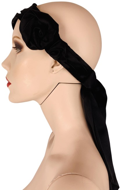 Item - Black Satin Band with Rosettes Ribbon Tails Streamers Hair Accessory