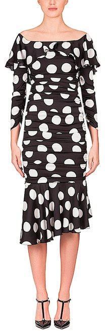 Item - Black/White with Tag Midi In Polka-dot Print Silk Ruches Cocktail Dress Size 0 (XS)
