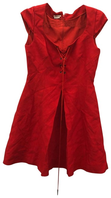 Item - Red A Line Pleated 44 Sleeveless Mid-length Night Out Dress Size 6 (S)