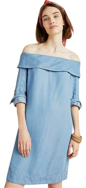 Item - New Blue Pilcro Off-the-shoulder Chambray Mid-length Short Casual Dress Size 14 (L)
